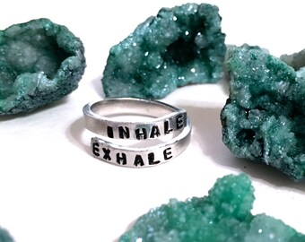 Breathe Ring | Inhale Exhale Ring | Inspirational Ring | Anxiety Ring | Meditation Ring | Stress Relief Jewelry | Breathe jewelry |
