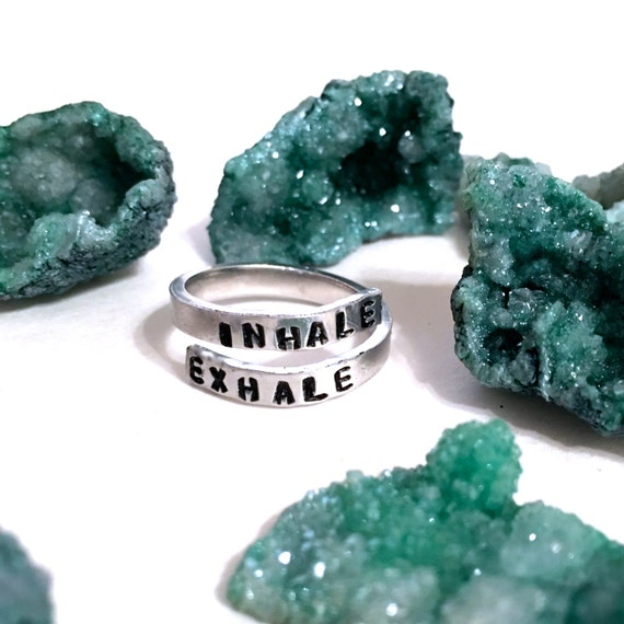Breathe Ring | Inhale Exhale Ring | Inspirational Ring | Anxiety Ring | Stress Relief Jewelry | Breathe jewelry | Wrap Around Ring