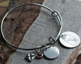 Mason Jar Wedding Anniversary Wire Adjustable Bangle Bracelet
