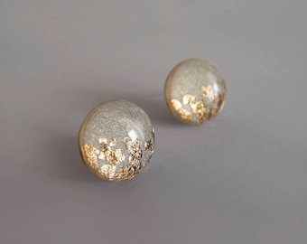 Gray Gold Round Stud Earrings - Gift for Her - Hypoallergenic Titanium Posts