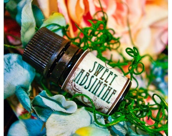 sweet absinthe - all natural perfume oil in aroma of ravensara, honeysuckle, sage and anise - in 1/6 oz amber apothecary bottle