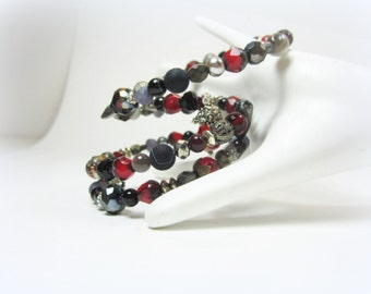 Garnet RED, BLACK, GRAY grey-perfect neutral-memory wire beaded wrap bracelet, gray grey silver red gemstone + glass, tagt agiftoflaughter
