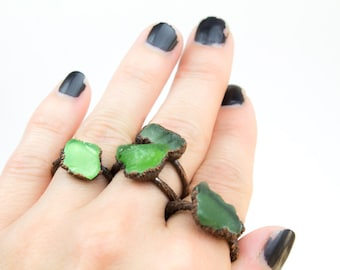 Seaglass Ring, Seaglass Jewelry, Boho Ring, Beach Glass Ring, Electroformed Seaglass, Stacking rings, Green Sea Glass, Beachy Ring