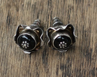 Sterling silver spinel  stud earrings mixedmetal artisan earrings black spinel earrings raw rustic jewelry ooak earrings metalwork earrings