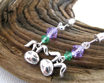 Lady Easter Bunny Earrings with Dangly Lavender and Green Crystal Easter Basket Gift Earrings