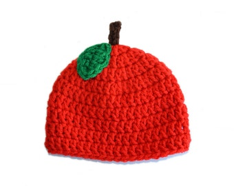 Crochet Apple Hat, Apple Baby Hat, Red Baby Beanie, Newborn Photo Prop, Crochet Fruit, Apple Hat, Red Hat, Womens Red Hat, Toddler Apple Cap