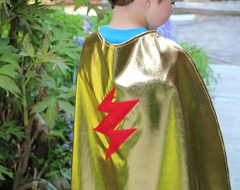 Children's Metallic SUPER HERO Cape with Lightening Bolt