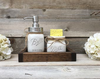 Kitchen Decor, Farmhouse, Mason Jar Kitchen Decor, Mason Jar Spongeholder,  Mason Jar