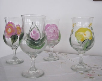 Classic Beer Glasses floral design hand painted great Birthday gift, Housewarming,Wife,Bar Glasses,gift for him, gift for her, Anniversay