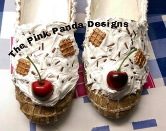 Handmade Ice cream sundae shoes, loafers, slip ons, waffle cone shoes