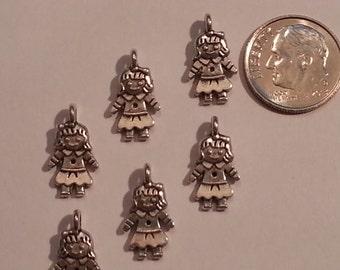 15mm Little Doll/Girl Charms/Pendants/Decor - 6pc - Tibetan Silver