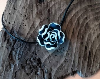 Fimo Clay Flower Pendant on Black cord Necklace - Clay Flower Necklace, Gift for her, Birthday gift