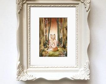 The Little Fox // Original Painting // Fox Girl, Forest, Forest Art, Fox Art, Anthropomorphic, Woodland, Whimsical, Cute, Fauna, Autumn, Fox