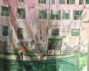 New Collection Venice Silk Scarf Square scarves Architectural scarf Hand painted silk scarf with Venetian canals, ladies scarf Mothers Day