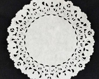 """White Normandy 4"""" PAPER LACE DOILIES"""
