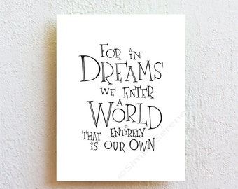 Harry Potter nursery decor - For in dreams we enter a world - Albus Dumbledore quote print, kids bedroom decor, home decor, dorm decor