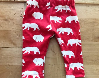 Camp Out Baby Pants, Leggings, Girl, Boy, Red, Woodland, Gift, Bears, Newborn