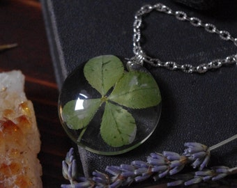 Real Four Leaf Clover Clover pendant  clover leaf clover clover jewelry lucky pendant lucky clover glass pendant irish jewelry resin jewelry
