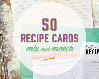 50 Mix & Match 4x6 Recipe Cards in a Muslin Bag, recipe gift set, recipe card set, recipe box, mothers day, boxed recipe cards, grandma gift