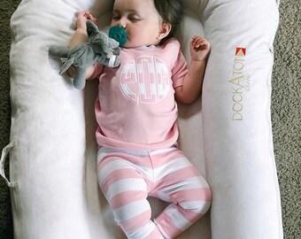 Girls circle monogram striped spring pajamas