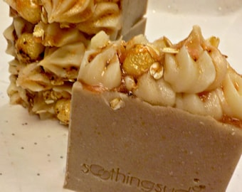 LAST ONE Oatmeal Milk & Honey -  Hot Processed Olive Oil Artisan Soap, 6oz bar,       Soothing Suds Handmade Soap