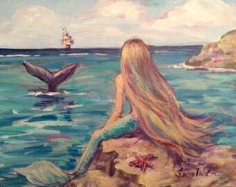 Mermaid Painting Mermaid by the sea  Made to order