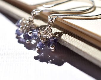Iolite Earrings, Sterling Silver Wire Wrapped Iolite Cluster Earrings, Denim Blue Gemstone Earrings, Indigo Blue Small Cluster Earrings