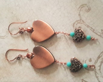 Hearts Desire - Copper Heart Dangle Earrings With Antique Torquoise Beads