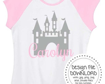 Princess Castle Personalized * Instant Download * w/ Svg Png Jpg Studio & FREE FONT files * For tees tanks tumblers decals Disney Tinkerbell