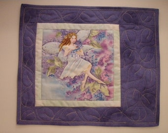 Quilted Mug Rug Handmade in USA - Fairy in the Flowers Quiltsy