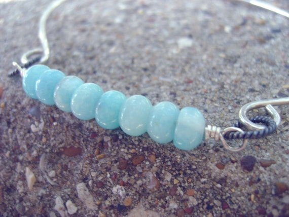 AquaDots - Amazonite, oxidized and polished sterling silver bangle bracelet - made to order