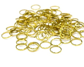 50 Pcs. Raw Brass 1x8 mm Textured Circle Findings