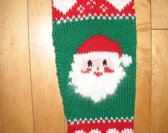 Hand Knit  Christmas Stocking  with Santa and Hearts/FOR CHRISTMAS 2018