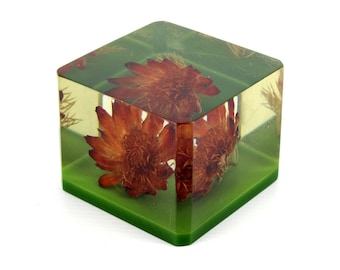 Vintage Square Lucite Red Flower Paperweight with Green Base