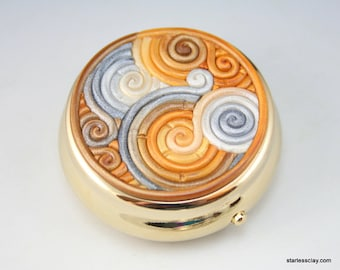 Pill Box in Gold, Silver, Ivory Polymer Clay Filigree
