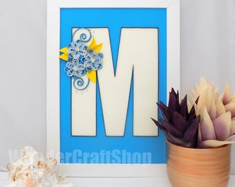 M N O P Letters, Baby Name Wall Art, Wall Hanging Letter, Christening Gift for Godson Goddaughter, Letter M, Initial N, Monogram O, Letter P