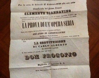 Poster of original Vintage Theatre 1848-Teatro SUTERA-Clemente Sadaghyani