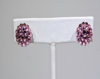 Pink Pave Swarovski Crystal Button Earring