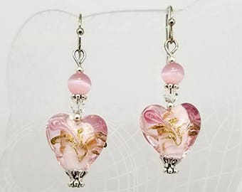 """Lampwork Glass Heart Earrings, Size 1-3/4"""", Heart Earrings, Lampwork Glass, Silver Earrings, Swarovski Crystal, Mothers Day Gift, For Her"""