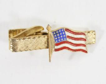 1960s American Flag Tie Clip | 60s Vintage Gold Flag Tie Clip