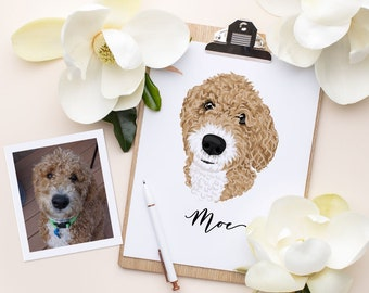 Dog portraits. Custom pet portrait. Custom animal illustration. Daughter to father gift. Digital file only - Draw me, please.