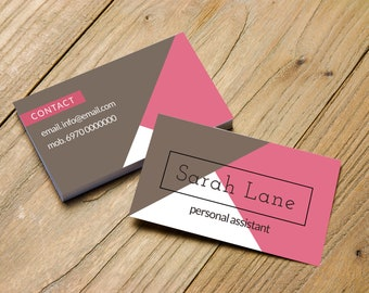 Pink and Grey business card with Diagonal Lines