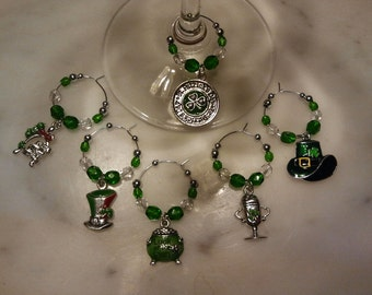 Irish Ireland St. Patrick's Day Wine Charms v3