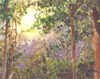 Forest Painting watercolor  PRINT Forest Trees Light Woods Landscape GICLEE reproduction lavender olive yellow