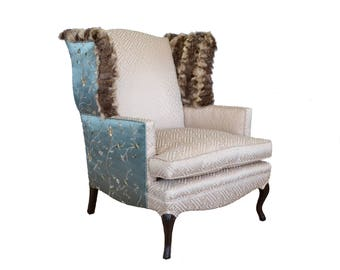 Silk Fur Upholstered Vintage Wingback Chair