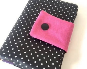 Black coated canvas wallet with white dots one of its kind