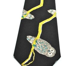 Owl Mens Neckties, Mens Necktie, Owl Necktie, Neckties, Black Neckties