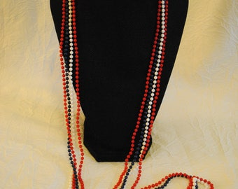 """Red white and blue bead multi strand statement necklace unmarked 47"""""""