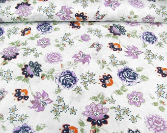 Cotton fabric 99-022-AL in white-embroidered with floral print purple