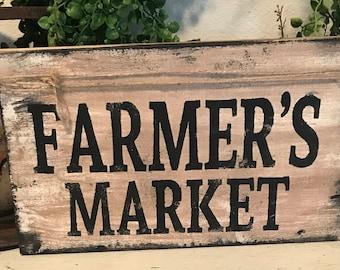 Farmhouse sign / shelf sitter /  rustic farmhouse wall decor / farmer's market sign